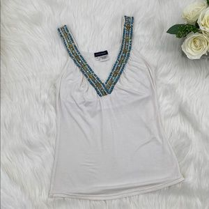 Boston Proper Turquoise Embellished Tank Top Small